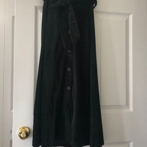 ZARA long Green Corduroy skirt XS  buttons/belt